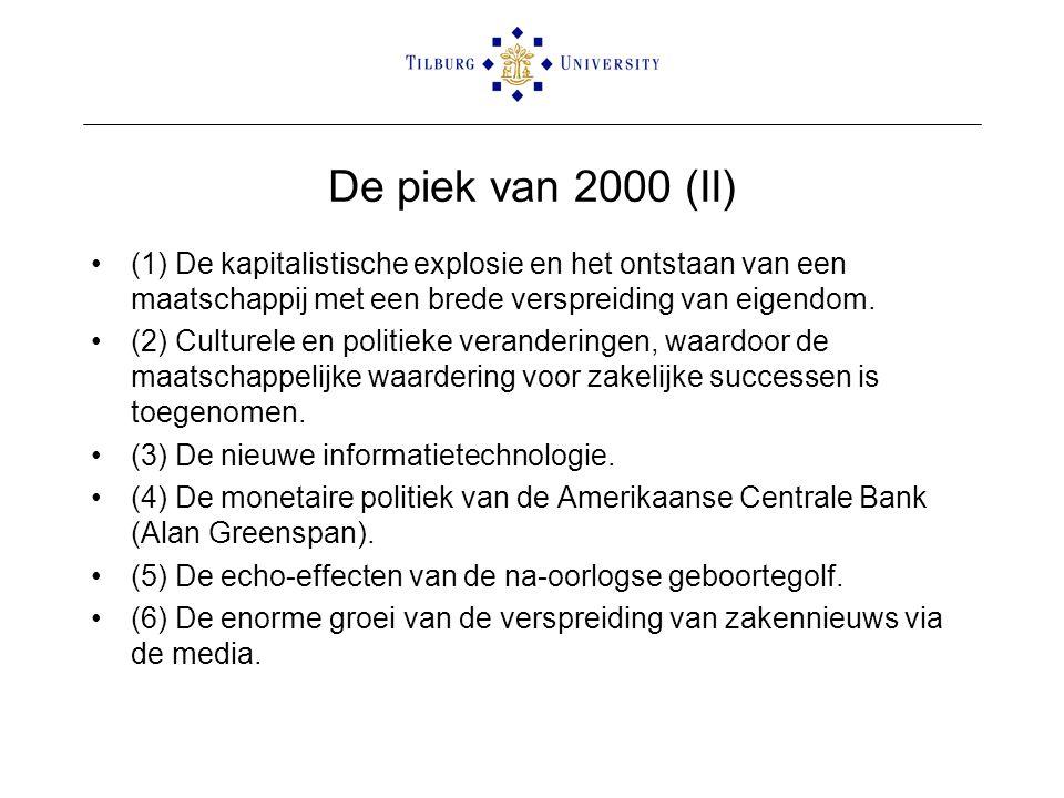 De piek van 2000 (II) •(1) De kapitalistische explosie en het ontstaan van een maatschappij met een brede verspreiding van eigendom. •(2) Culturele en