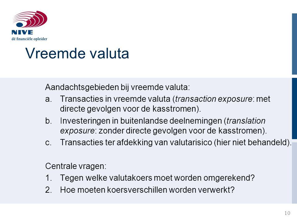 10 Vreemde valuta Aandachtsgebieden bij vreemde valuta: a.Transacties in vreemde valuta (transaction exposure: met directe gevolgen voor de kasstromen