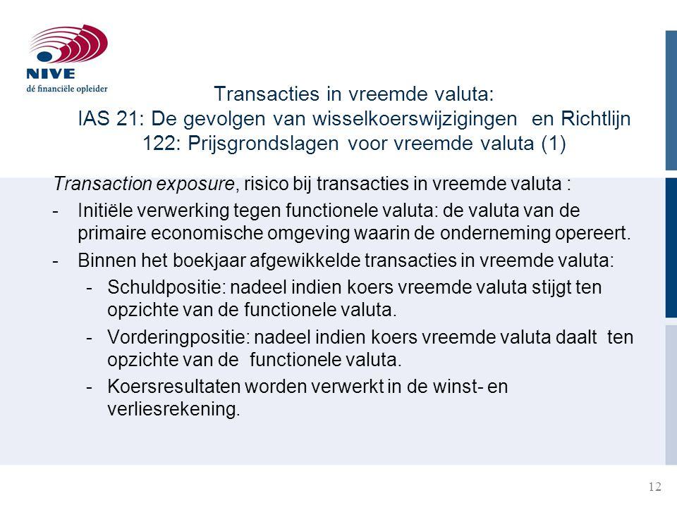 12 Transacties in vreemde valuta: IAS 21: De gevolgen van wisselkoerswijzigingen en Richtlijn 122: Prijsgrondslagen voor vreemde valuta (1) Transactio