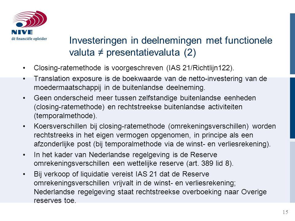 15 •Closing-ratemethode is voorgeschreven (IAS 21/Richtlijn122). •Translation exposure is de boekwaarde van de netto-investering van de moedermaatscha