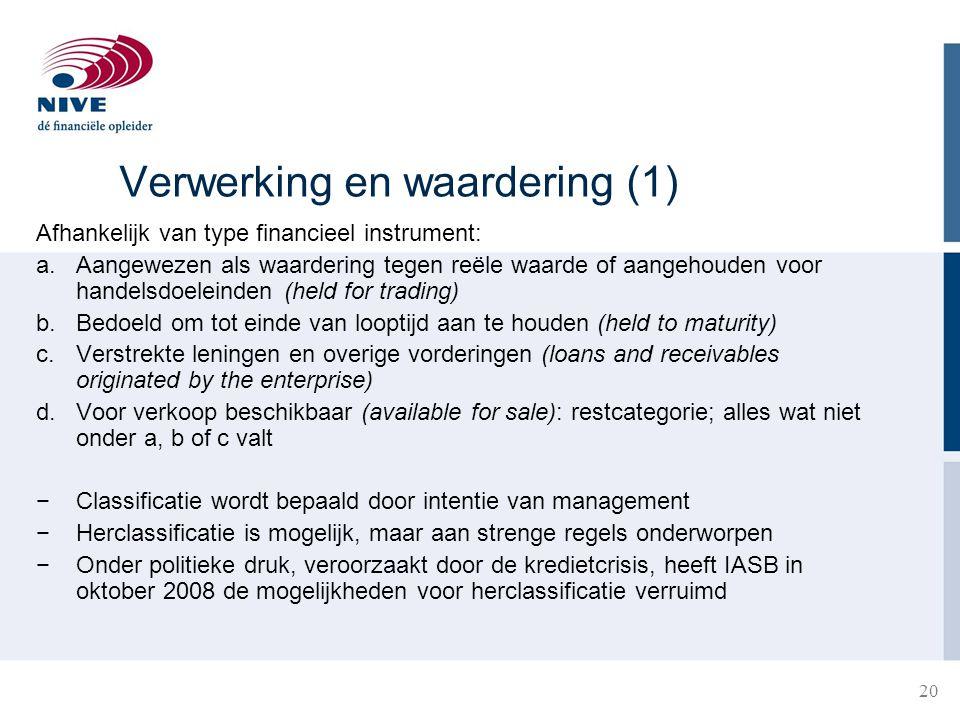 20 Verwerking en waardering (1) Afhankelijk van type financieel instrument: a.Aangewezen als waardering tegen reële waarde of aangehouden voor handels