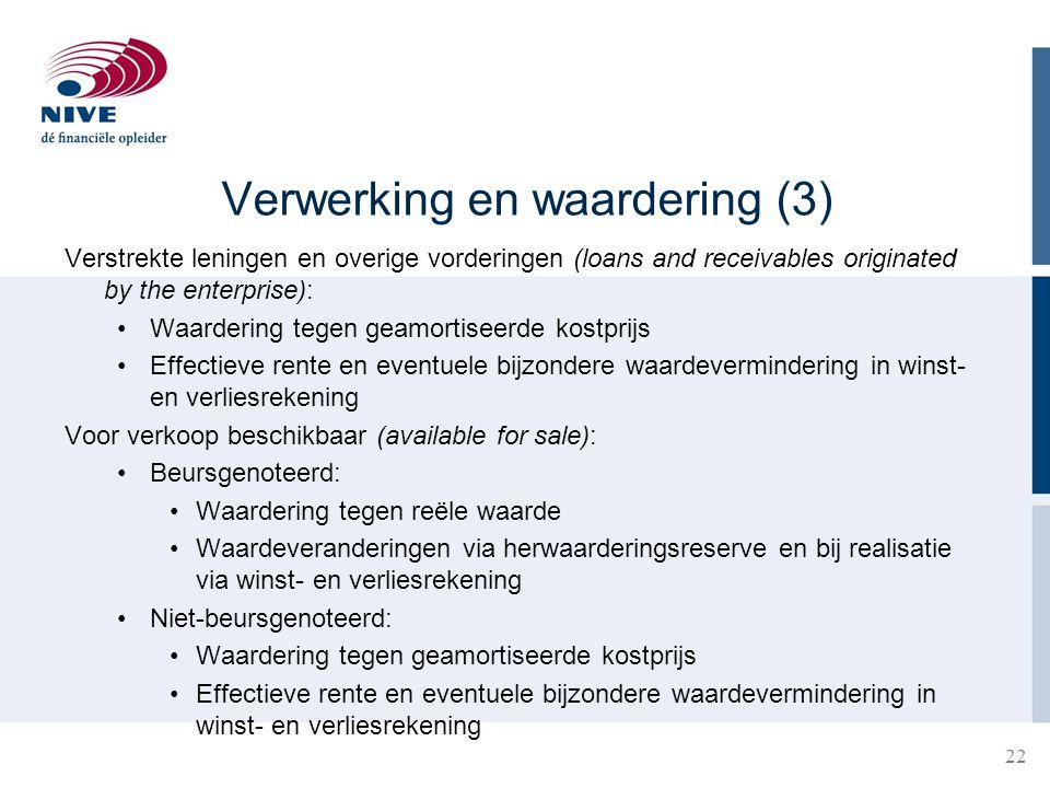 22 Verwerking en waardering (3) Verstrekte leningen en overige vorderingen (loans and receivables originated by the enterprise): •Waardering tegen gea
