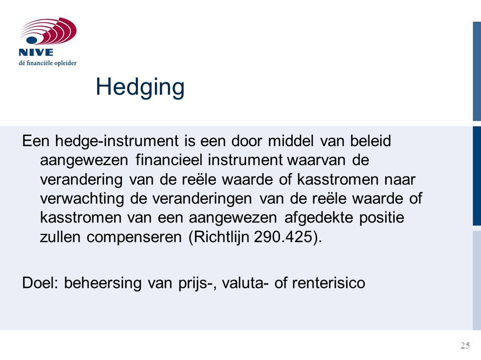 25 Hedging Een hedge-instrument is een door middel van beleid aangewezen financieel instrument waarvan de verandering van de reële waarde of kasstrome