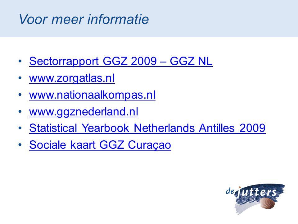 Voor meer informatie •Sectorrapport GGZ 2009 – GGZ NLSectorrapport GGZ 2009 – GGZ NL •www.zorgatlas.nlwww.zorgatlas.nl •www.nationaalkompas.nlwww.nati