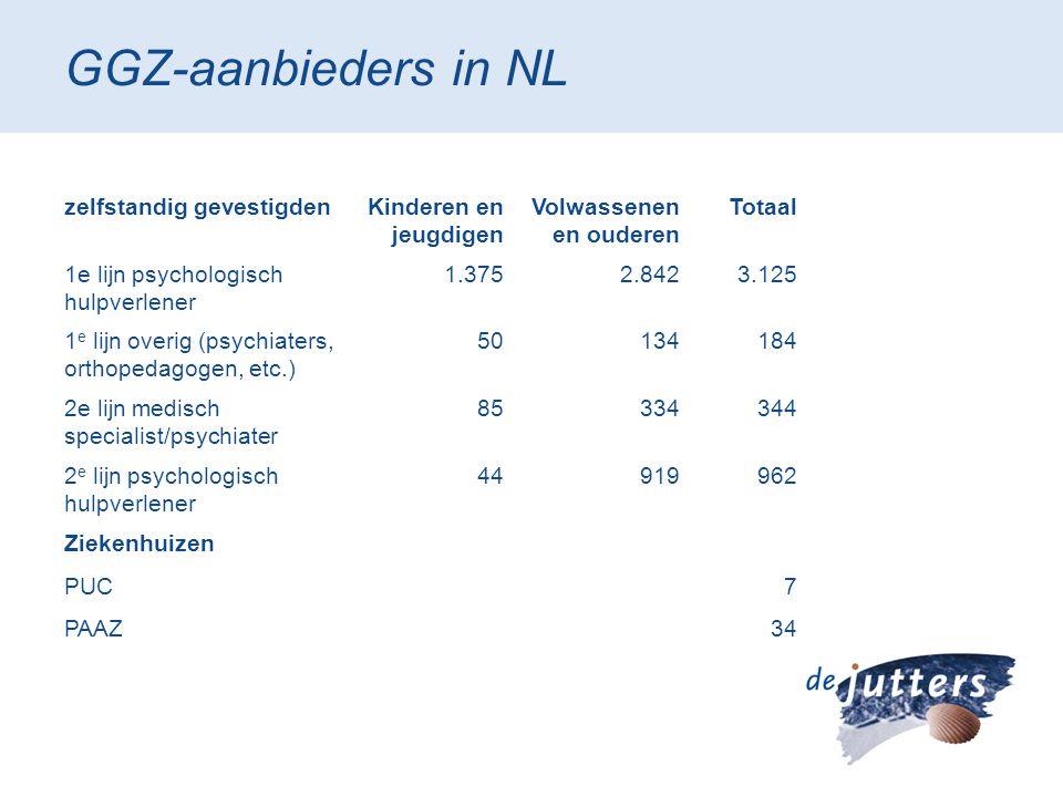 GGZ-aanbieders in NL zelfstandig gevestigdenKinderen en jeugdigen Volwassenen en ouderen Totaal 1e lijn psychologisch hulpverlener 1.3752.8423.125 1 e