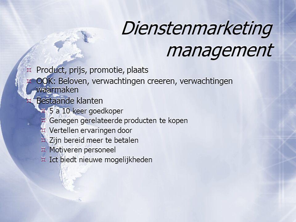 Dienstenmarketing management  Product, prijs, promotie, plaats  OOK: Beloven, verwachtingen creeren, verwachtingen waarmaken  Bestaande klanten  5