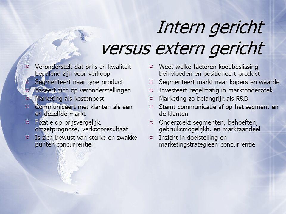 Intern gericht versus extern gericht  Veronderstelt dat prijs en kwaliteit bepalend zijn voor verkoop  Segmenteert naar type product  Baseert zich