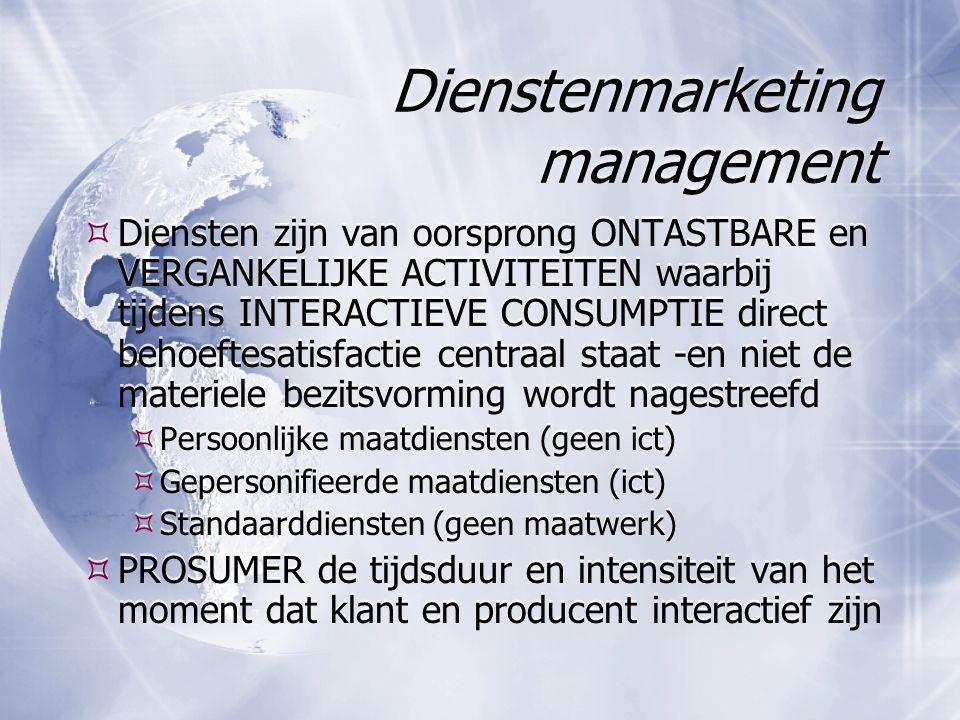 Dienstenmarketing management  Diensten zijn van oorsprong ONTASTBARE en VERGANKELIJKE ACTIVITEITEN waarbij tijdens INTERACTIEVE CONSUMPTIE direct beh