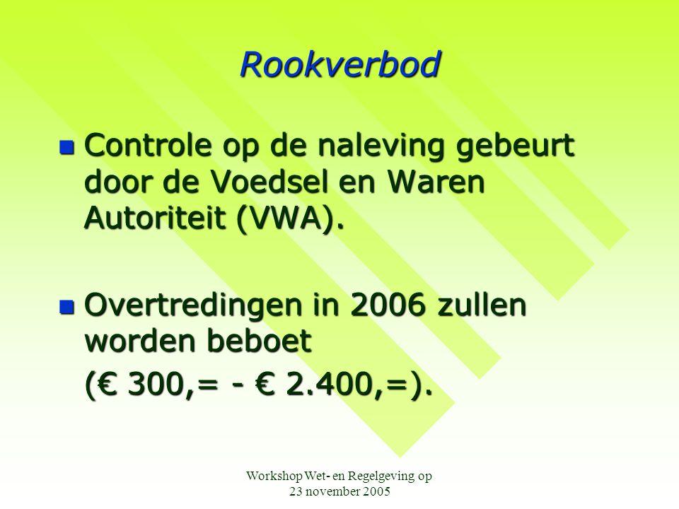 Workshop Wet- en Regelgeving op 23 november 2005 Rookverbod  Controle op de naleving gebeurt door de Voedsel en Waren Autoriteit (VWA).  Overtreding