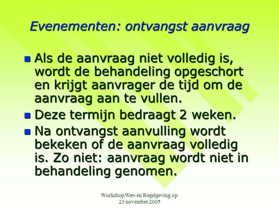 Workshop Wet- en Regelgeving op 23 november 2005 Onderscheidingen: Gemeentelijk Ereteken  Aanvraagformulier en nadere informatie te verkrijgen bij Janneke Mallens van de afdeling Bestuur en Ondersteuning:  0416-683829 of  Jmallens@waalwijk.nl.