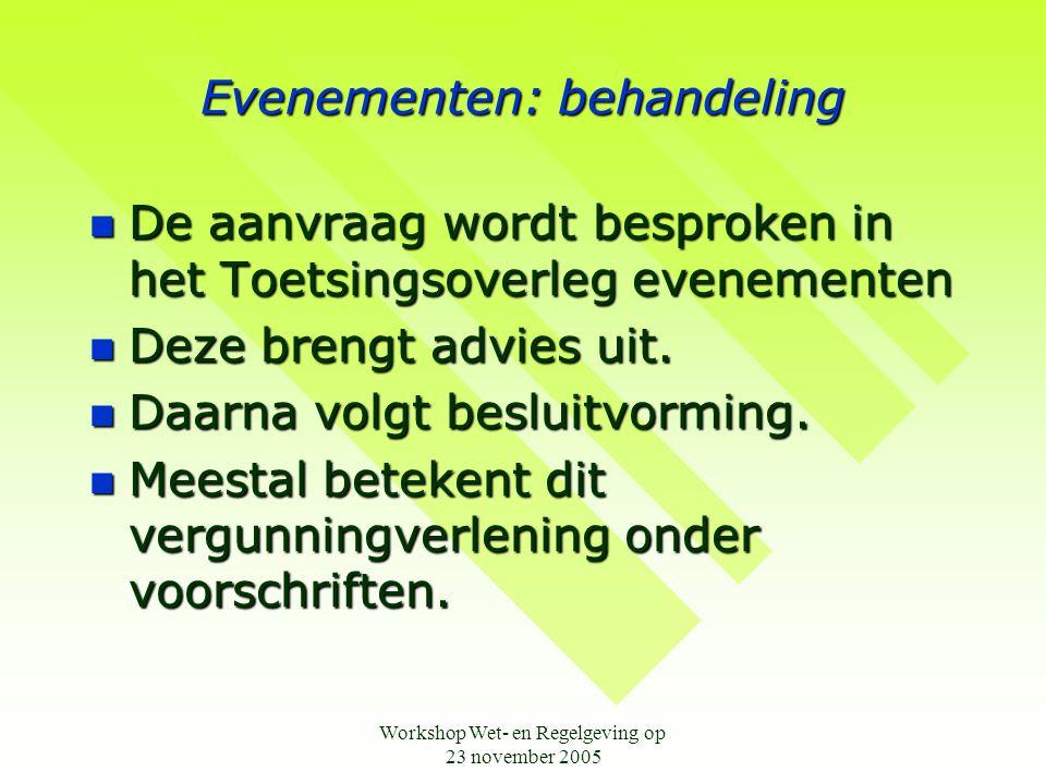 Workshop Wet- en Regelgeving op 23 november 2005 Evenementen: na het besluit  Publicatie van vergunningverlening gebeurt op de gemeentepagina in De Maasroute .