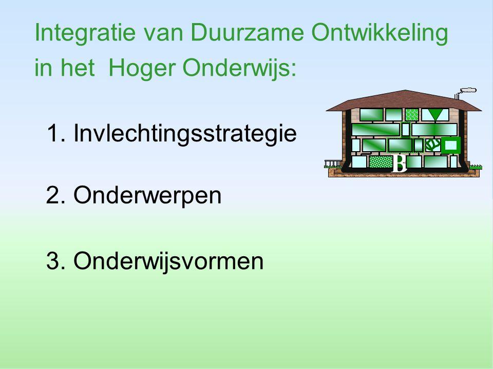 1. Invlechtingsstrategie Integratie van Duurzame Ontwikkeling in het Hoger Onderwijs: B 3. Onderwijsvormen 2. Onderwerpen