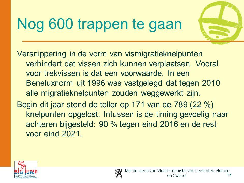 Met de steun van Vlaams minister van Leefmilieu, Natuur en Cultuur 18 Nog 600 trappen te gaan Versnippering in de vorm van vismigratieknelpunten verhi