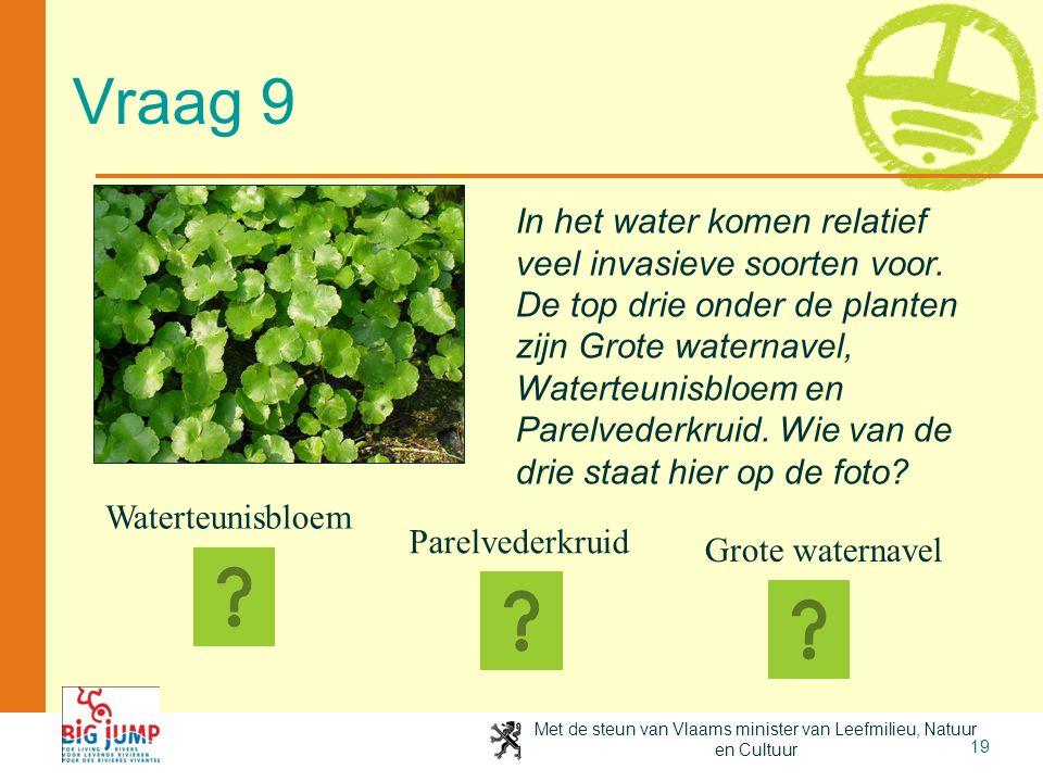Met de steun van Vlaams minister van Leefmilieu, Natuur en Cultuur 19 Vraag 9 In het water komen relatief veel invasieve soorten voor. De top drie ond