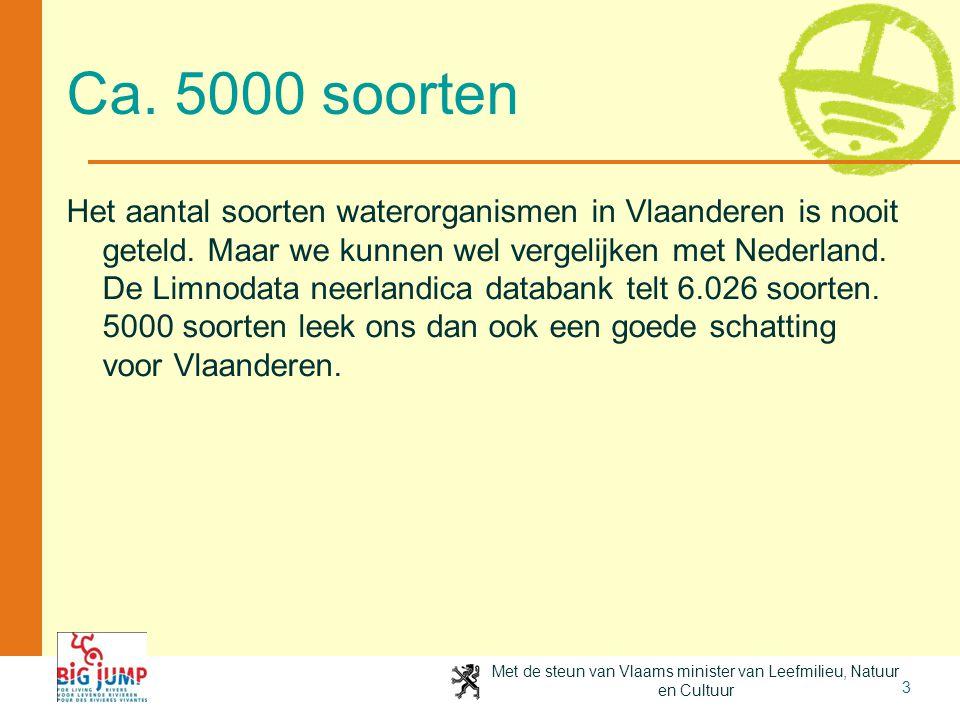 Met de steun van Vlaams minister van Leefmilieu, Natuur en Cultuur 3 Ca. 5000 soorten Het aantal soorten waterorganismen in Vlaanderen is nooit geteld