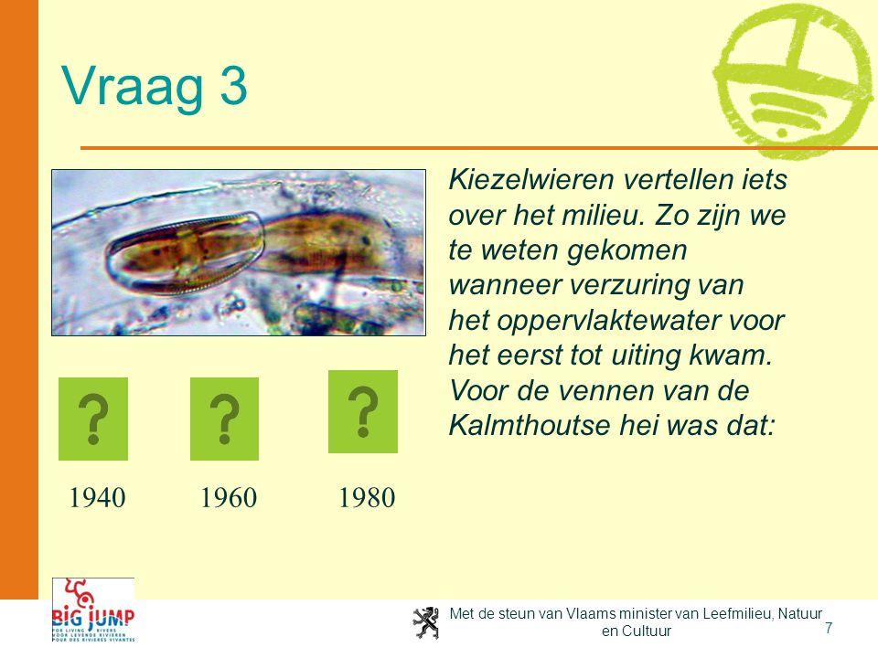 Met de steun van Vlaams minister van Leefmilieu, Natuur en Cultuur 7 Vraag 3 Kiezelwieren vertellen iets over het milieu. Zo zijn we te weten gekomen