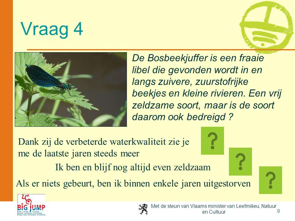 Met de steun van Vlaams minister van Leefmilieu, Natuur en Cultuur 10 Beekjuffers voorlopig gered De iets algemenere Weidebeekjuffer vond als eerste de weg terug naar de beken waarvan de waterkwaliteit geleidelijk verbeterd is.