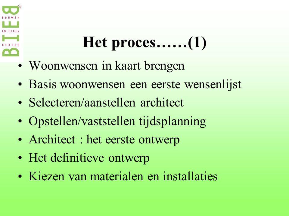 Het proces……(1) •Woonwensen in kaart brengen •Basis woonwensen een eerste wensenlijst •Selecteren/aanstellen architect •Opstellen/vaststellen tijdsplanning •Architect : het eerste ontwerp •Het definitieve ontwerp •Kiezen van materialen en installaties