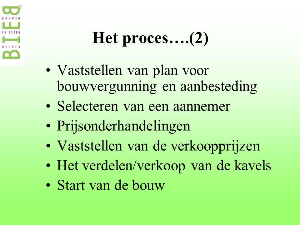Het proces….(2) •Vaststellen van plan voor bouwvergunning en aanbesteding •Selecteren van een aannemer •Prijsonderhandelingen •Vaststellen van de verkoopprijzen •Het verdelen/verkoop van de kavels •Start van de bouw