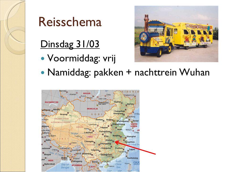 Reisschema Dinsdag 31/03  Voormiddag: vrij  Namiddag: pakken + nachttrein Wuhan