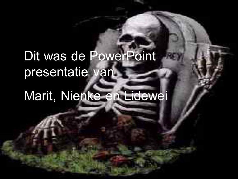 Dit was de PowerPoint presentatie van Marit, Nienke en Lidewei