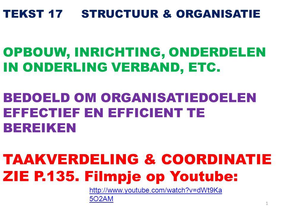 1 TEKST 17 STRUCTUUR & ORGANISATIE OPBOUW, INRICHTING, ONDERDELEN IN ONDERLING VERBAND, ETC. BEDOELD OM ORGANISATIEDOELEN EFFECTIEF EN EFFICIENT TE BE