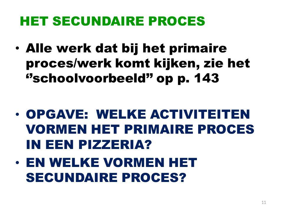 HET SECUNDAIRE PROCES • Alle werk dat bij het primaire proces/werk komt kijken, zie het ''schoolvoorbeeld'' op p. 143 • OPGAVE: WELKE ACTIVITEITEN VOR