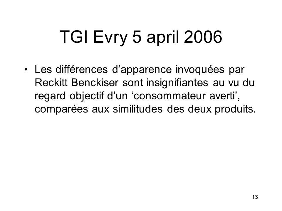 13 TGI Evry 5 april 2006 •Les différences d'apparence invoquées par Reckitt Benckiser sont insignifiantes au vu du regard objectif d'un 'consommateur averti', comparées aux similitudes des deux produits.