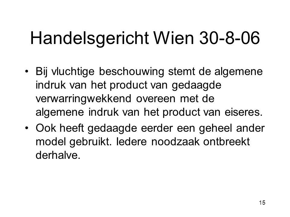 15 Handelsgericht Wien 30-8-06 •Bij vluchtige beschouwing stemt de algemene indruk van het product van gedaagde verwarringwekkend overeen met de algemene indruk van het product van eiseres.