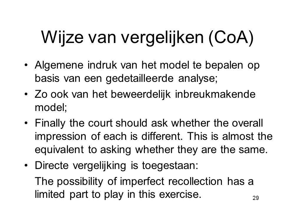 29 Wijze van vergelijken (CoA) •Algemene indruk van het model te bepalen op basis van een gedetailleerde analyse; •Zo ook van het beweerdelijk inbreuk