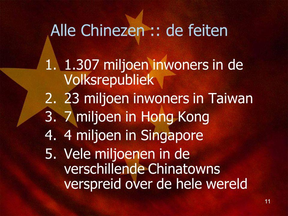 11 Alle Chinezen :: de feiten 1.1.307 miljoen inwoners in de Volksrepubliek 2.23 miljoen inwoners in Taiwan 3.7 miljoen in Hong Kong 4.4 miljoen in Si