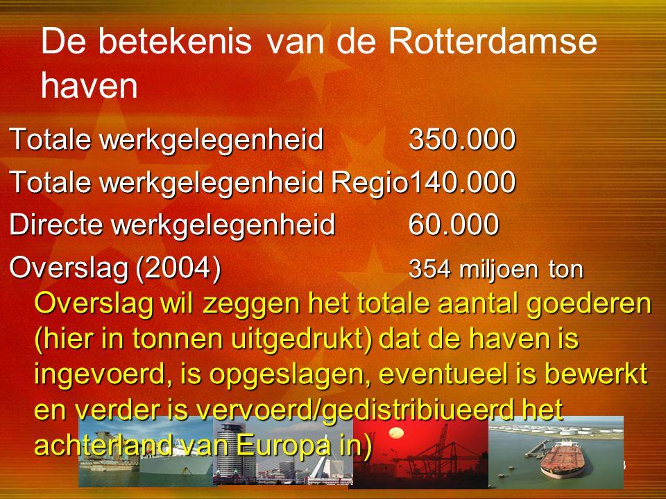 43 De betekenis van de Rotterdamse haven Totale werkgelegenheid350.000 Totale werkgelegenheid Regio140.000 Directe werkgelegenheid60.000 Overslag (200
