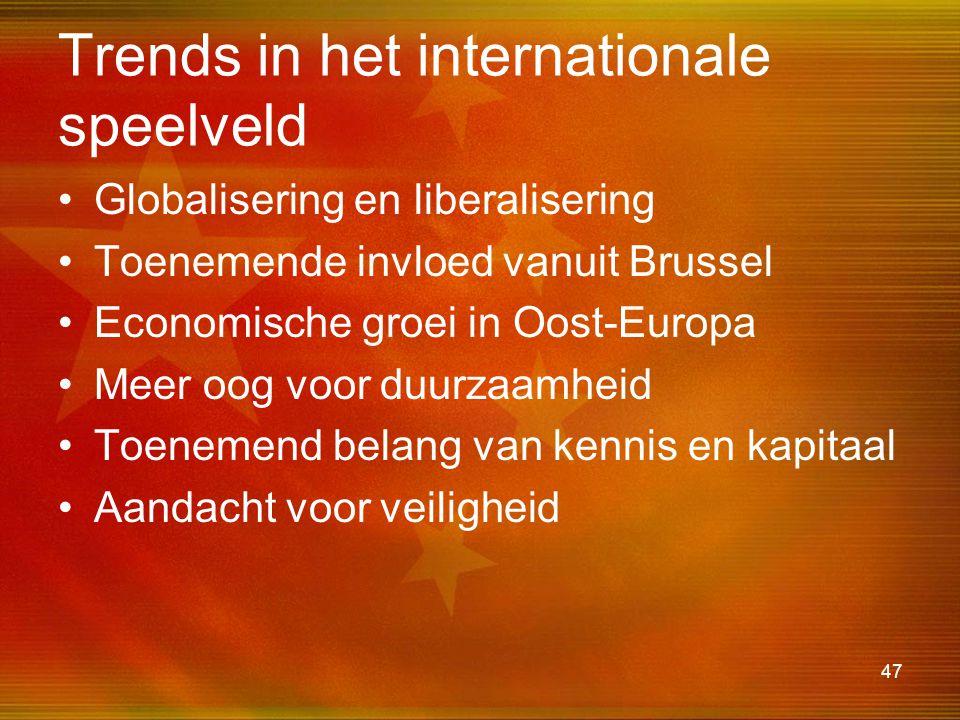 47 Trends in het internationale speelveld •Globalisering en liberalisering •Toenemende invloed vanuit Brussel •Economische groei in Oost-Europa •Meer