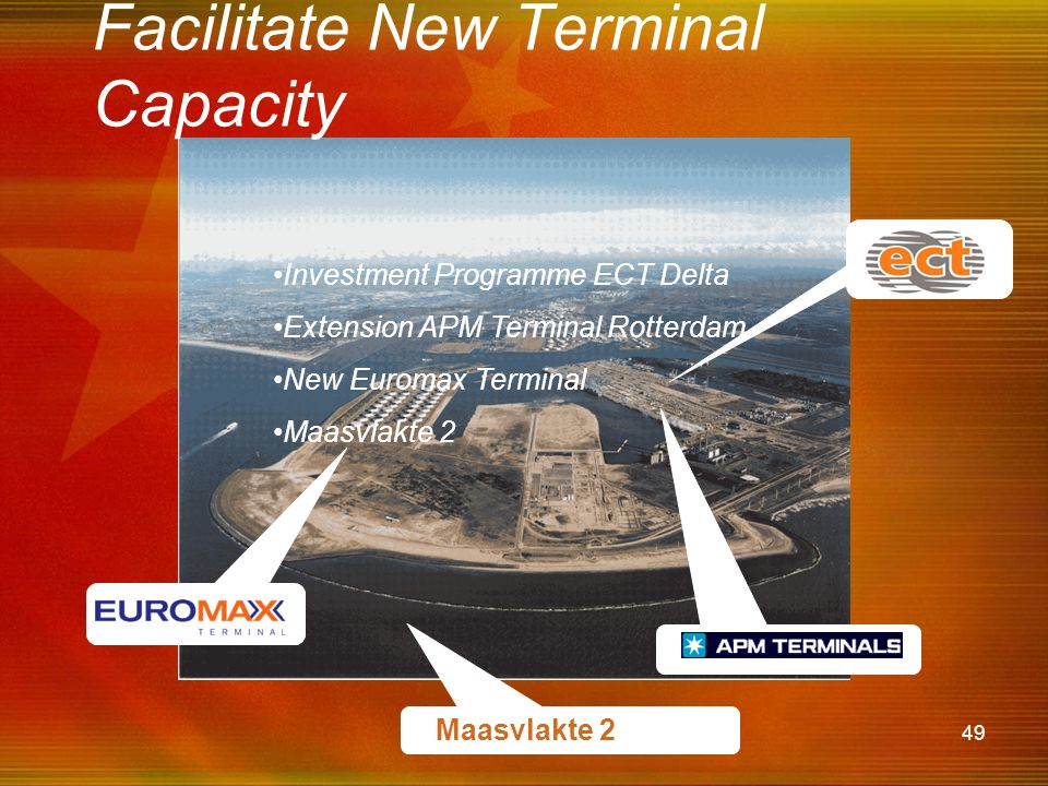 49 Facilitate New Terminal Capacity •Investment Programme ECT Delta •Extension APM Terminal Rotterdam •New Euromax Terminal •Maasvlakte 2 Maasvlakte 2