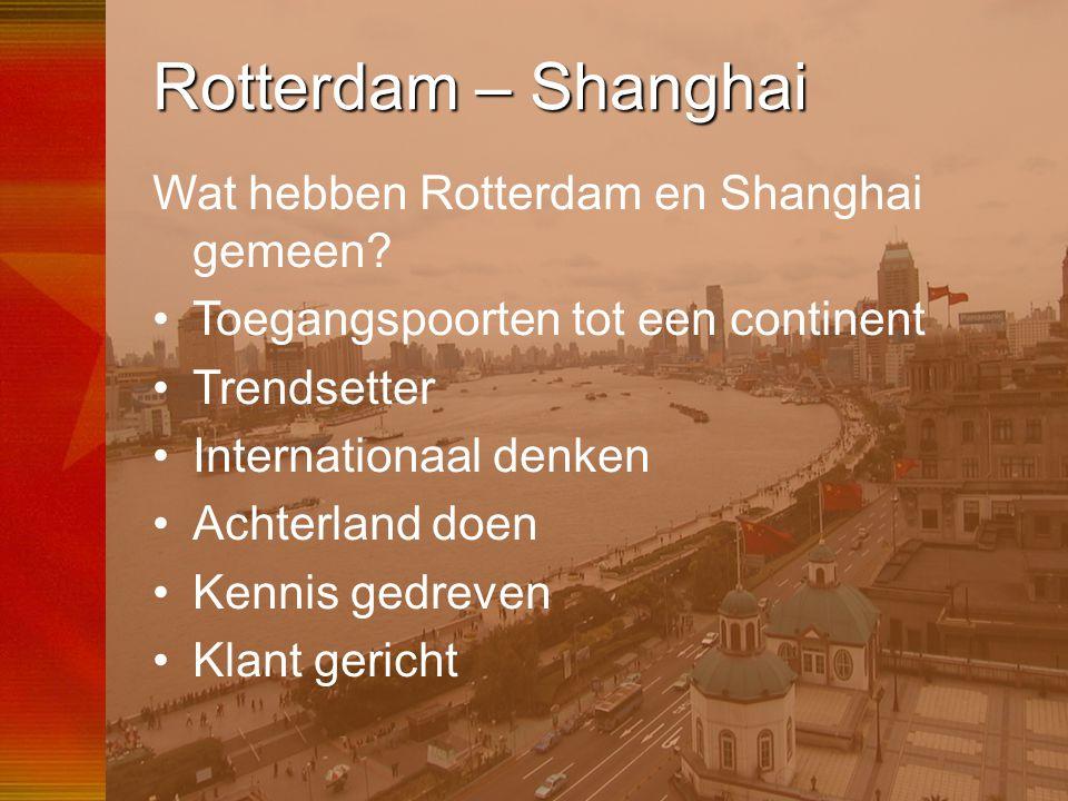 53 Rotterdam – Shanghai Wat hebben Rotterdam en Shanghai gemeen? •Toegangspoorten tot een continent •Trendsetter •Internationaal denken •Achterland do