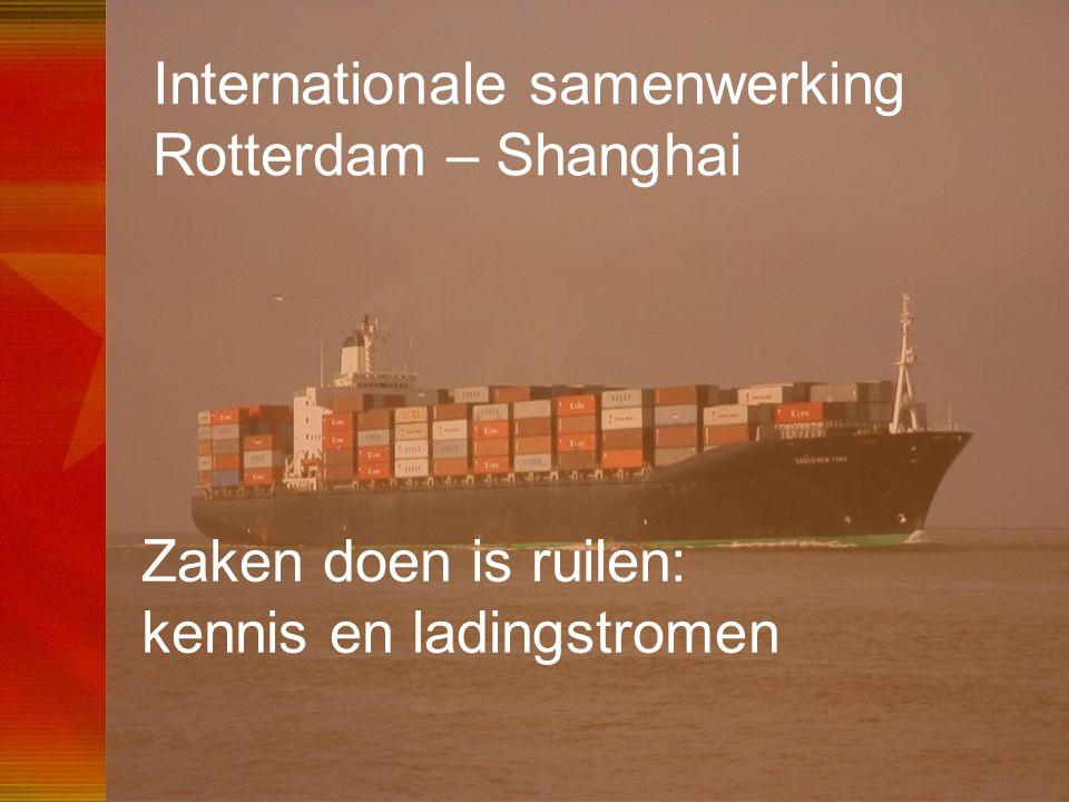 54 Internationale samenwerking Rotterdam – Shanghai Zaken doen is ruilen: kennis en ladingstromen