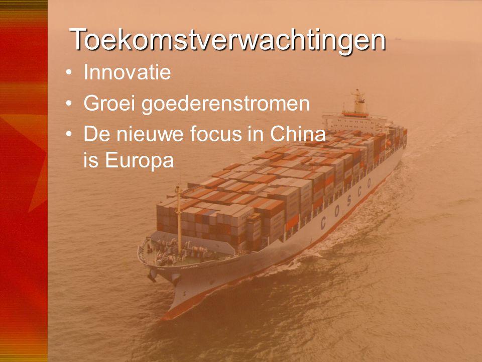 56 Toekomstverwachtingen •Innovatie •Groei goederenstromen •De nieuwe focus in China is Europa