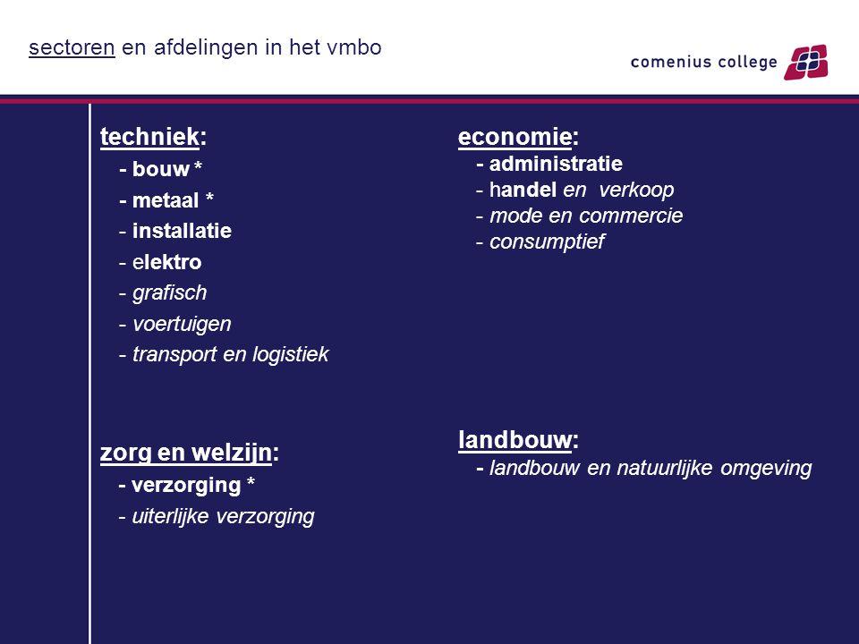sectoren en afdelingen in het vmbo techniek: - bouw * - metaal * - installatie - elektro - grafisch - voertuigen - transport en logistiek zorg en welz