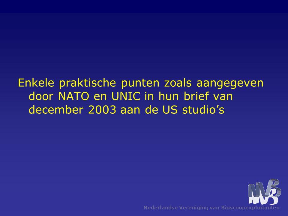 Nederlandse Vereniging van Bioscoopexploitanten Enkele praktische punten zoals aangegeven door NATO en UNIC in hun brief van december 2003 aan de US studio's