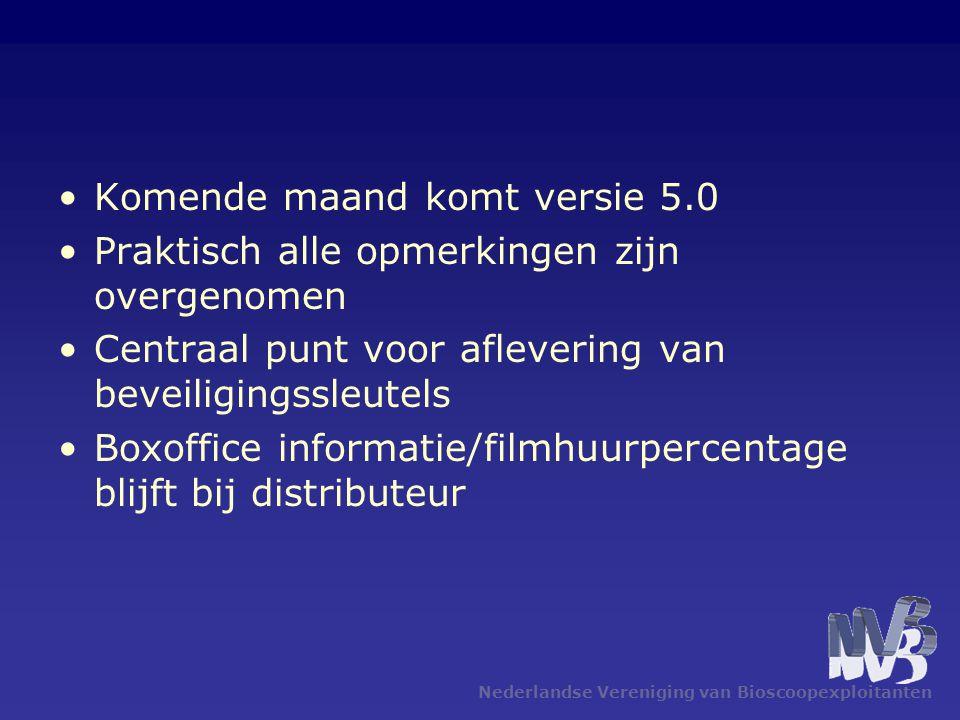 Nederlandse Vereniging van Bioscoopexploitanten •Komende maand komt versie 5.0 •Praktisch alle opmerkingen zijn overgenomen •Centraal punt voor aflevering van beveiligingssleutels •Boxoffice informatie/filmhuurpercentage blijft bij distributeur