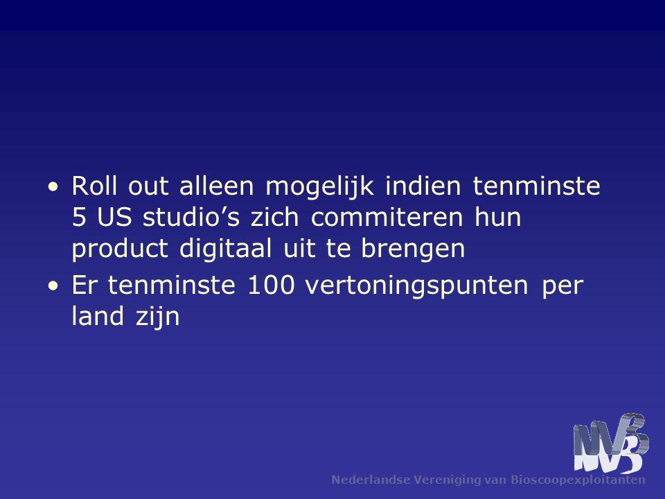 Nederlandse Vereniging van Bioscoopexploitanten •Roll out alleen mogelijk indien tenminste 5 US studio's zich commiteren hun product digitaal uit te brengen •Er tenminste 100 vertoningspunten per land zijn