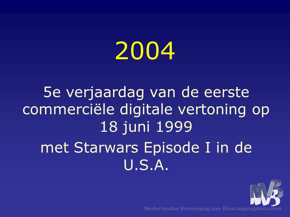 Nederlandse Vereniging van Bioscoopexploitanten 2004 5e verjaardag van de eerste commerciële digitale vertoning op 18 juni 1999 met Starwars Episode I in de U.S.A.