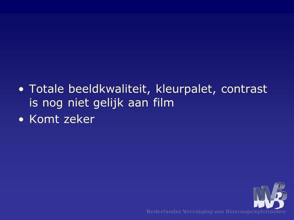 Nederlandse Vereniging van Bioscoopexploitanten •Totale beeldkwaliteit, kleurpalet, contrast is nog niet gelijk aan film •Komt zeker