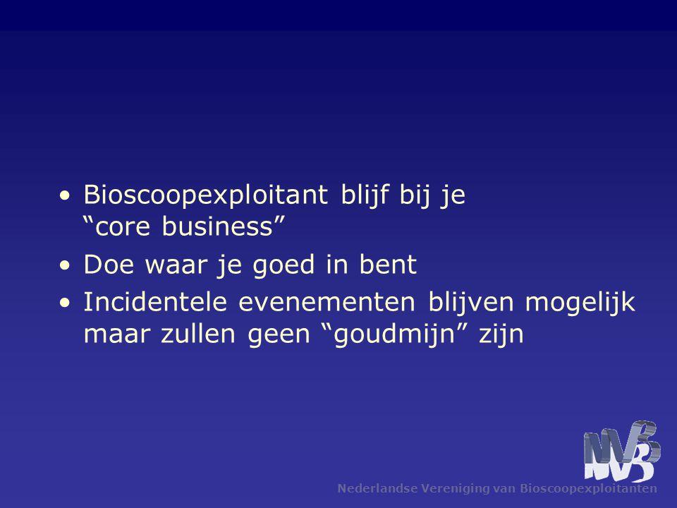 Nederlandse Vereniging van Bioscoopexploitanten •Bioscoopexploitant blijf bij je core business •Doe waar je goed in bent •Incidentele evenementen blijven mogelijk maar zullen geen goudmijn zijn