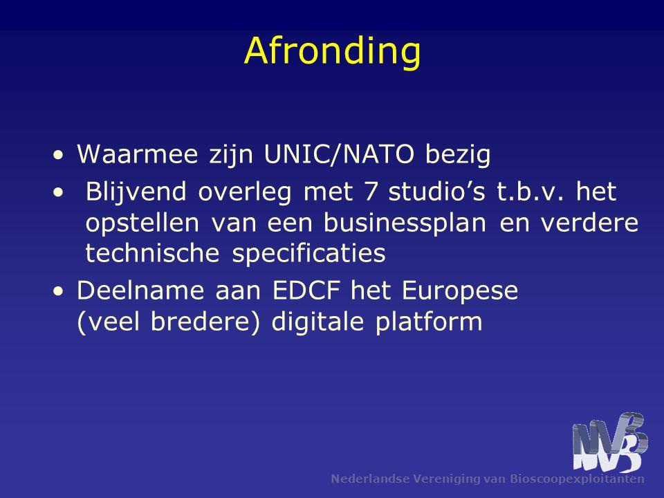 Nederlandse Vereniging van Bioscoopexploitanten Afronding •Waarmee zijn UNIC/NATO bezig • Blijvend overleg met 7 studio's t.b.v.