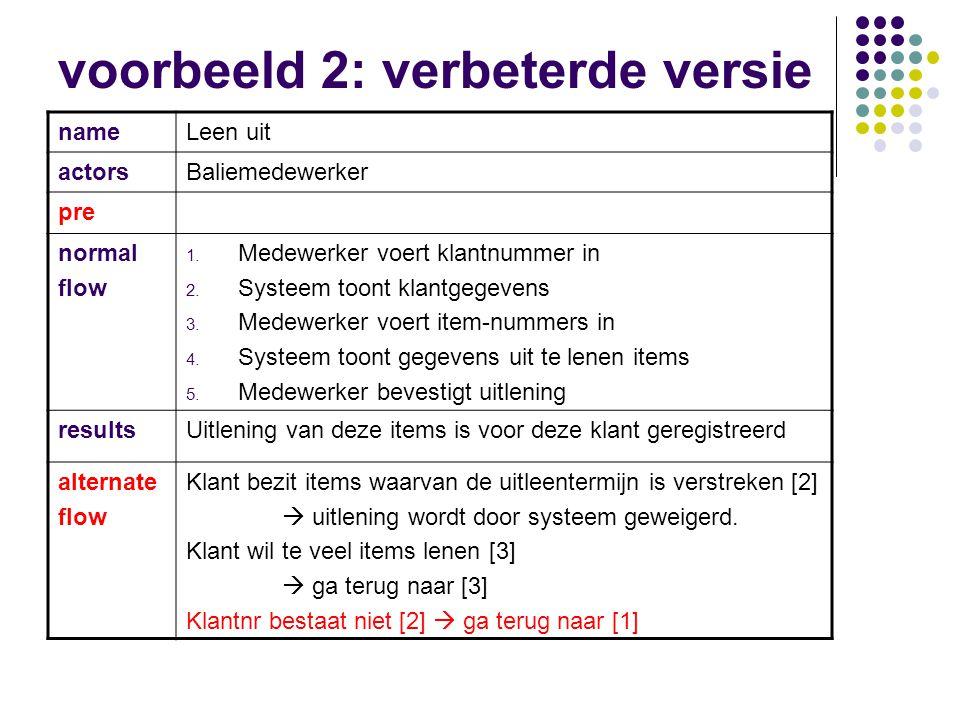 Use case (voorbeeld 2) nameLeen uit actorsBaliemedewerker preKlant is bekend normal flow 1. Medewerker voert klantnummer in 2. Systeem toont klantgege