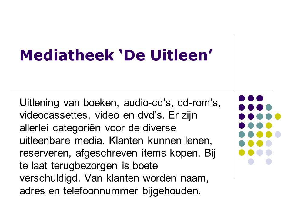 Mediatheek 'De Uitleen' Uitlening van boeken, audio-cd's, cd-rom's, videocassettes, video en dvd's.