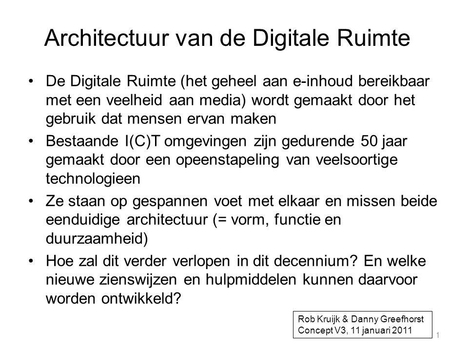 Architectuur van de Digitale Ruimte •De Digitale Ruimte (het geheel aan e-inhoud bereikbaar met een veelheid aan media) wordt gemaakt door het gebruik