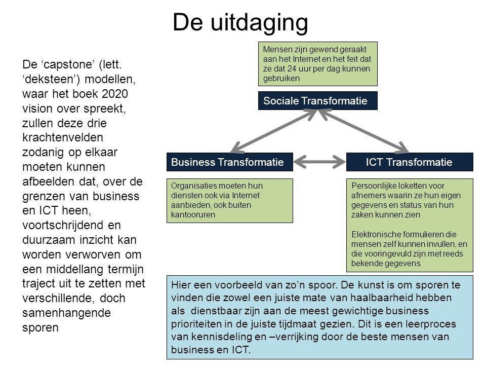 De uitdaging 8 Sociale Transformatie Business TransformatieICT Transformatie De 'capstone' (lett. 'deksteen') modellen, waar het boek 2020 vision over
