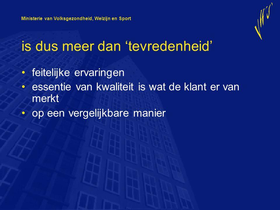 Ministerie van Volksgezondheid, Welzijn en Sport transparantie voor: •consument •verzekeraar •instelling: –professionals –directie –raad van toezicht –cliënten raad •inspectie